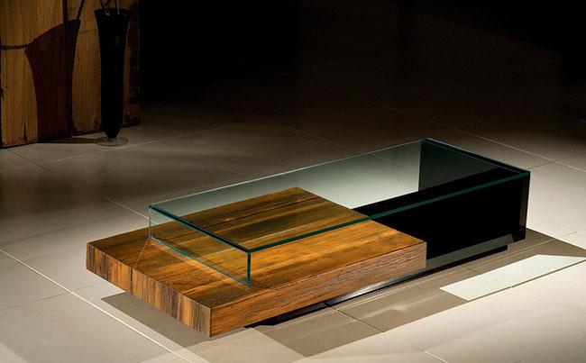 Mesa de vidro de centro com formato super contemporâneo