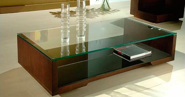 Mesa de vidro de centro para sala de estar
