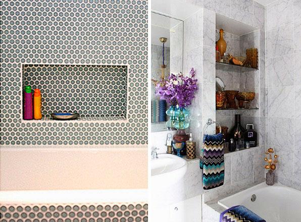 Decoração com nichos para o banheiro