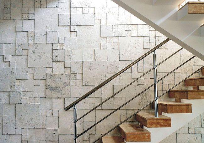 Mosaico em parede de tecnocimento