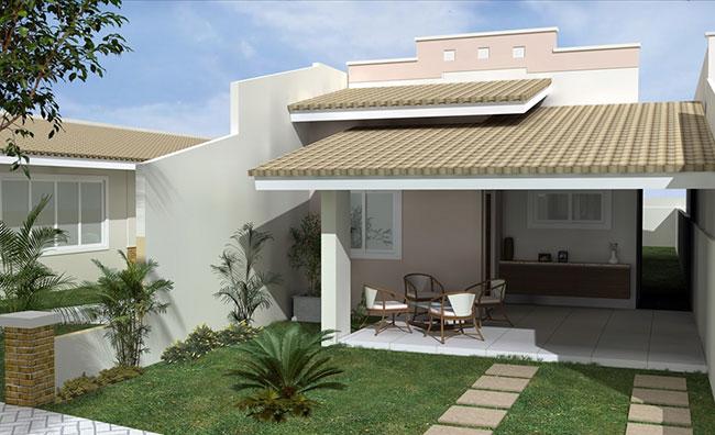 Fachada de casas popular com paisagismo simples