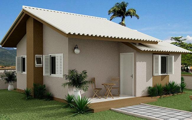 Casa popular com design de fachada simples e econômico