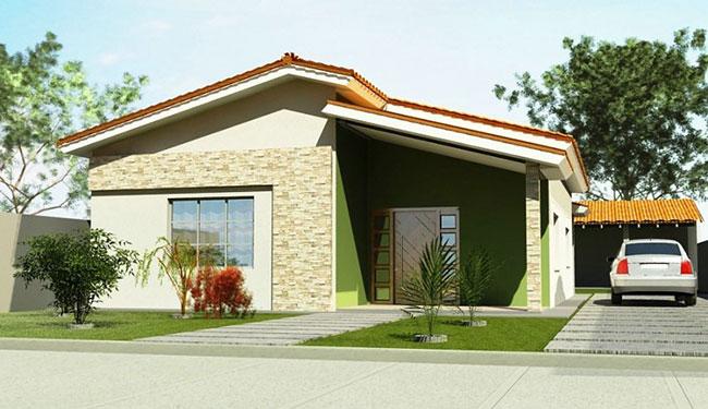 35 modelos de fachadas de casas simples e populares for Casa popular