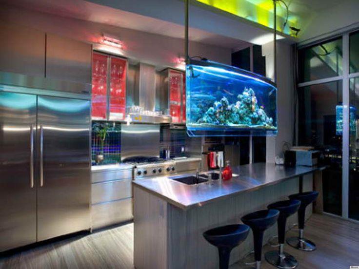Aquário suspenso decorativo na cozinha