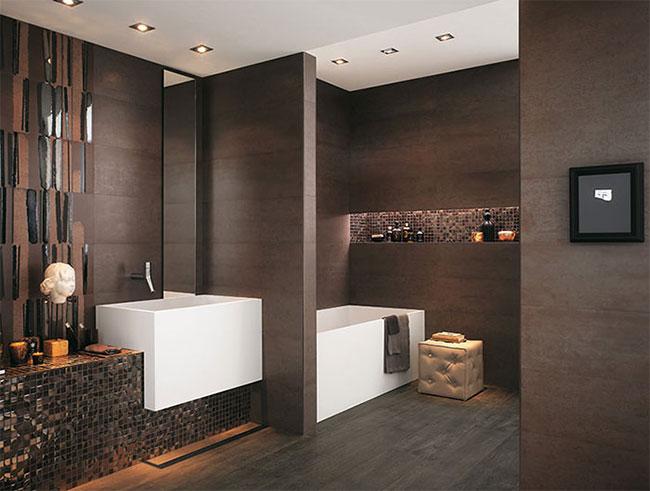 decoração de banheiro moderno em tons de madeira