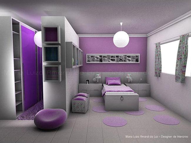 Decoração de quarto infantil lilás e branco