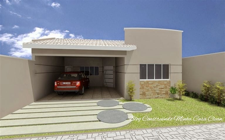 Fachada simples de casa popular com garagem