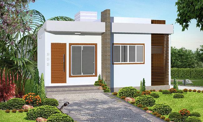 35 modelos de fachadas de casas simples e populares for Fachadas modernas para casas de tres pisos