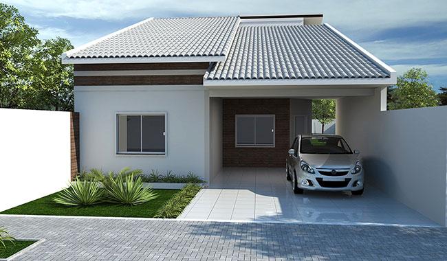 Casa popular de uma água com garagem