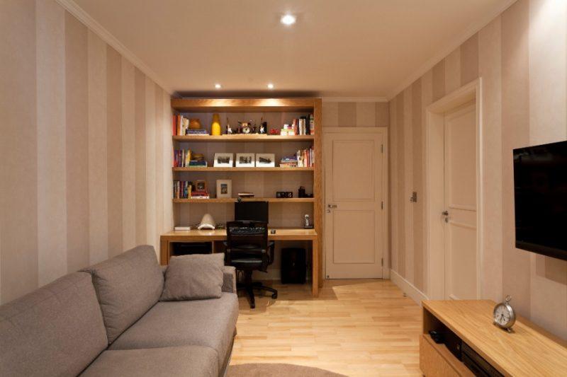 Assoalho de piso Marfim em sala de estar