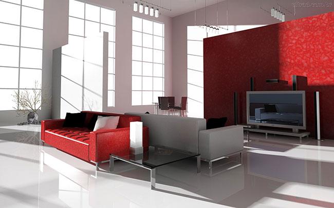 Decoração de sala vermelho e branca