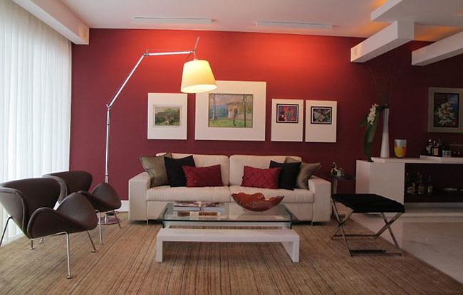 Decoração de sala de estar vermelha