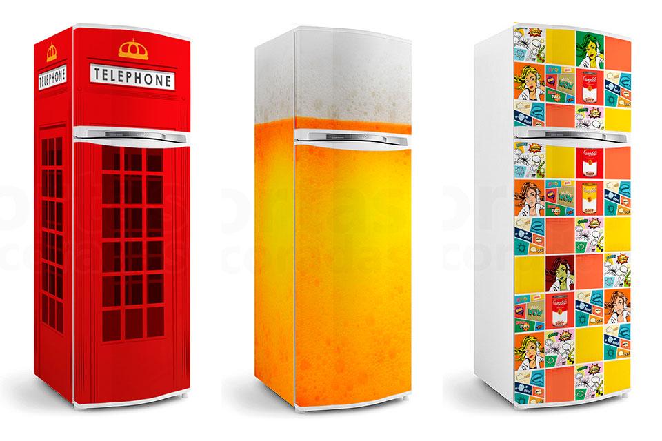 Estampas variadas de adesivos para geladeira