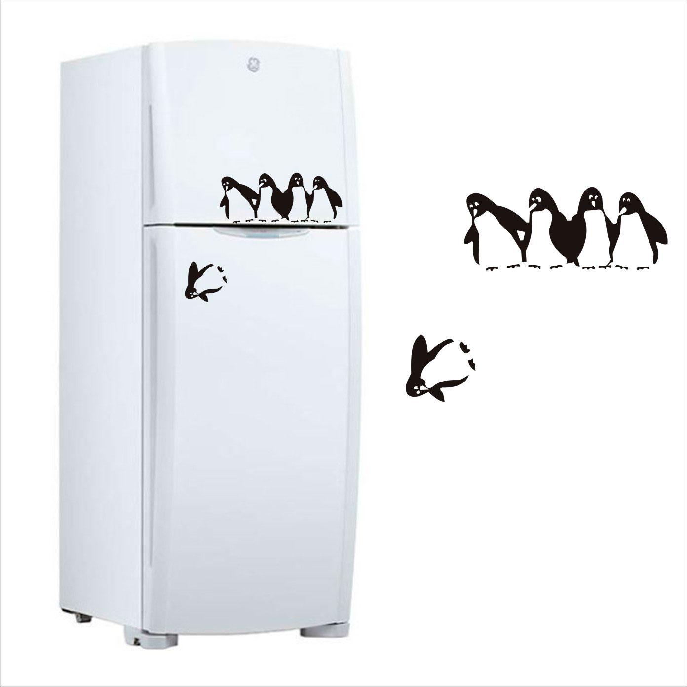 Adesivo de pinguins para geladeira