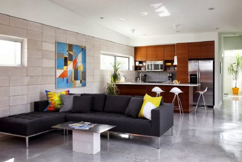 Blocos de concreto dando um ar moderno a parede