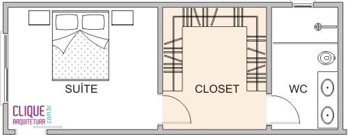 Projeto de Suíte com Closet entre o quarto e banheiro