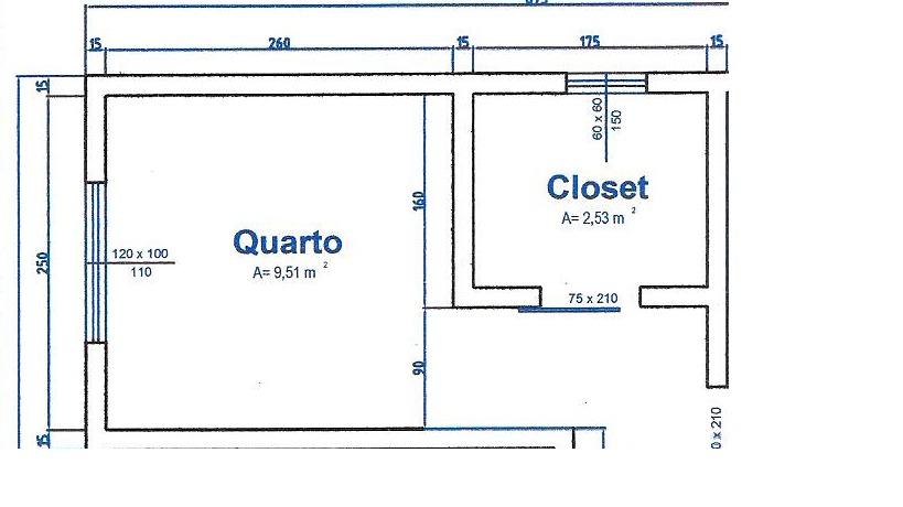 Projeto simples de quarto com closet