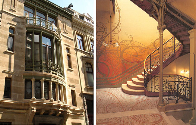 Fachada e interior do Hotel Tassel, do arquiteto Vitor Horta