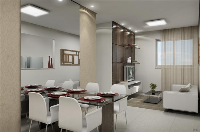 Sala de jantar com pequeno espelho quadrado na parede