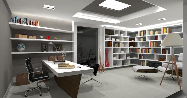 Home Office decorado com estantes para livros
