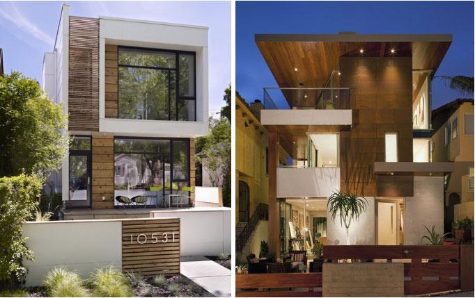 Fachada com elementos re madeira à esquerda e com forro e elevação de madeira na parte externa