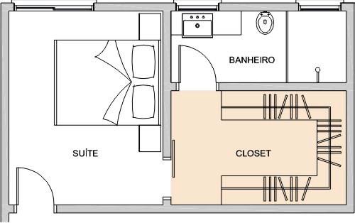 Suite com closet projeto planta simples