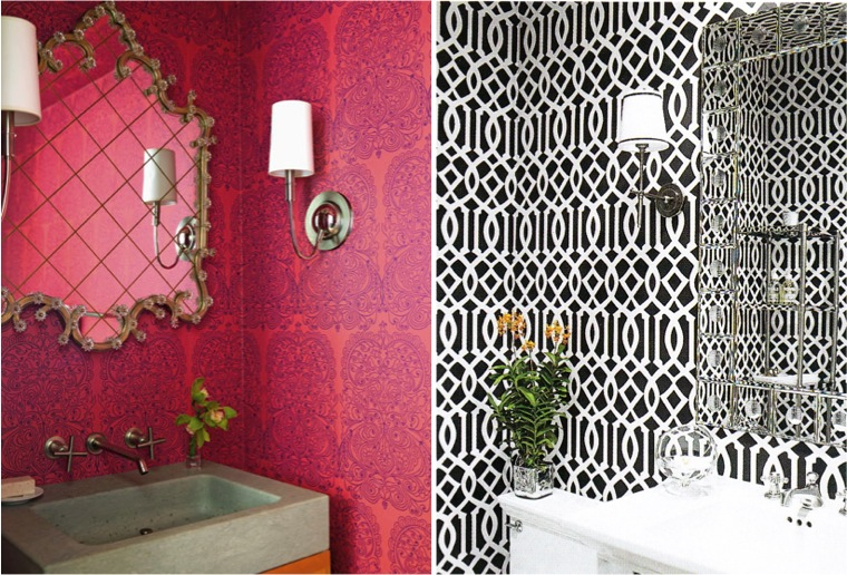 lavabo decorado com papel de parede 2
