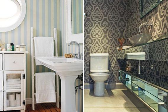lavabo decorado com papel de parede 5