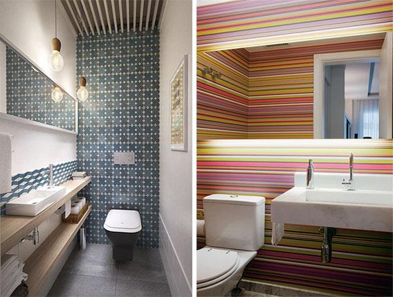 lavabo decorado com papel de parede 6
