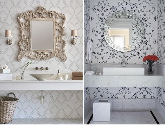 lavabo decorado com papel de parede