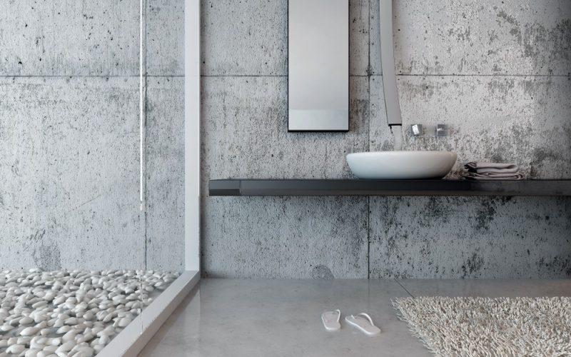 Parede de banheiro de luxo em concreto armado