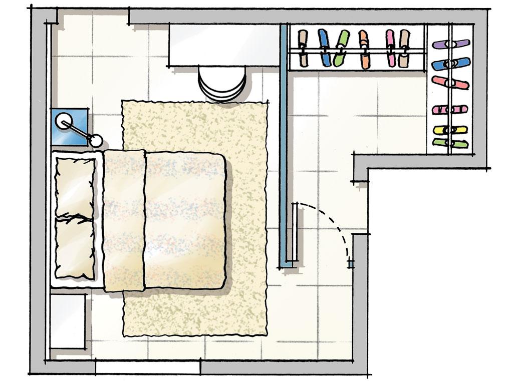 Planta de closet separado do quarto por parede de drywall