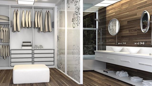 Imagem de Closet integrado com banheiro de suíte