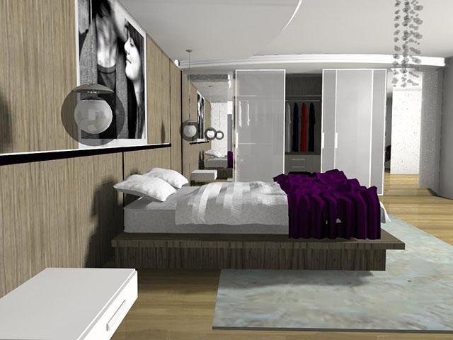 Projeto decorado de quarto com closet