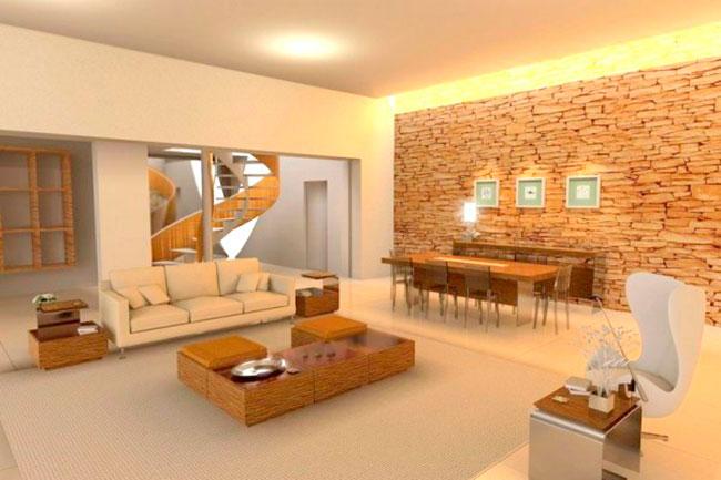 Sala de estar com parede revestido de quartzito filetado amarelo