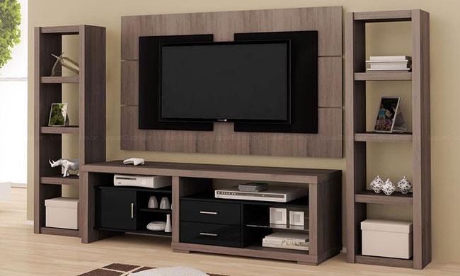 Rack com painel para tv e estantes laterais