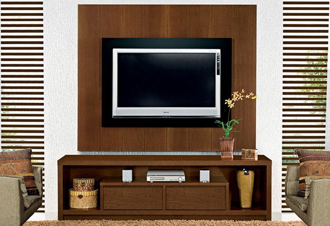 Rack de madeira para sala de estar com painel