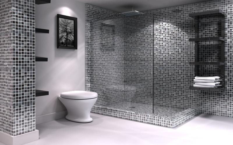 Banheiro com pastilhas cerâmicas pretas e cinzas