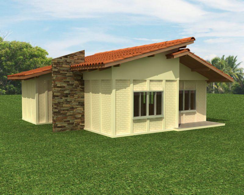 Casa simples pre-fabricada de concreto com garagem
