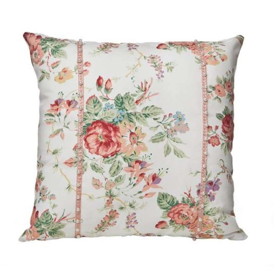 Almofada personalizada com flores rosas verlmelhas