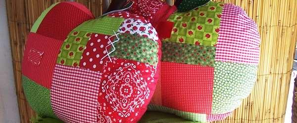 Almofadas decorativa de retalhos com coração