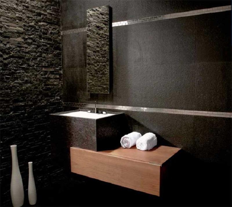 Revestimento de parede de banheiro em ardósia negra filetada