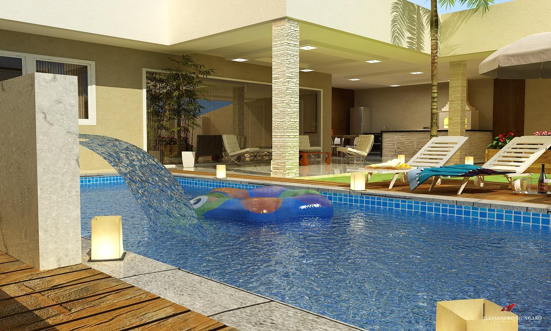 piscina com cascata na área de lazer