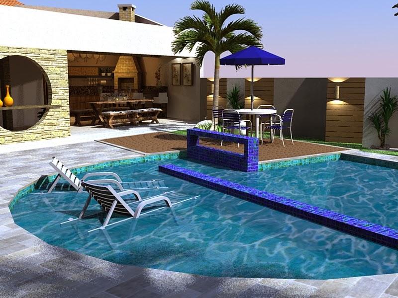Modelo de área de lazer com piscina e cadeiras
