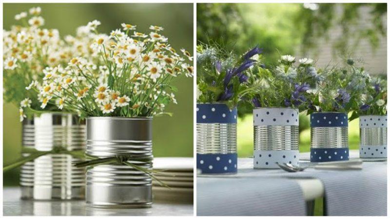 arranjo floral em lata