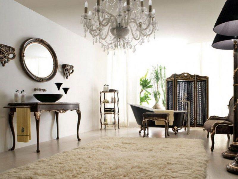 Decoração antiga de banheiro com móveis sofisticados