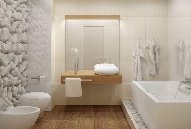 Banheiro decorado em porcelanato madeira