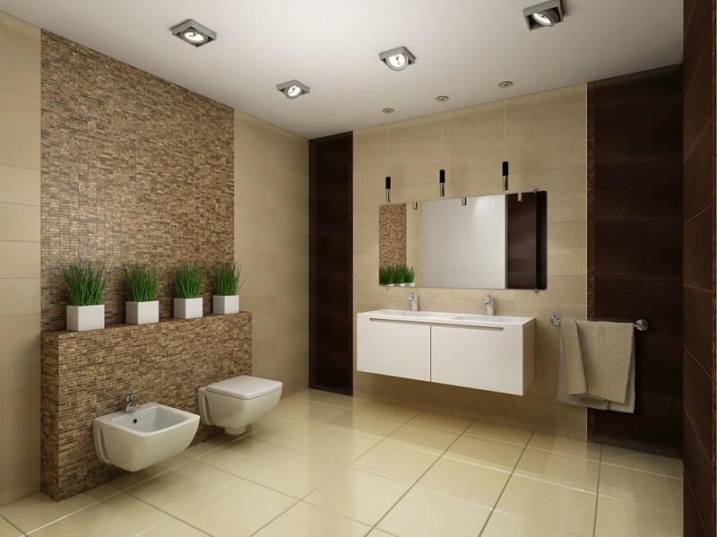 banheiro simples decorado com cerâmica moderna