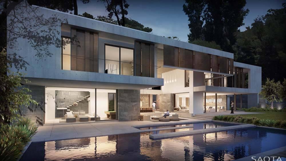 Casa moderna com piscina e proteção contra insolação