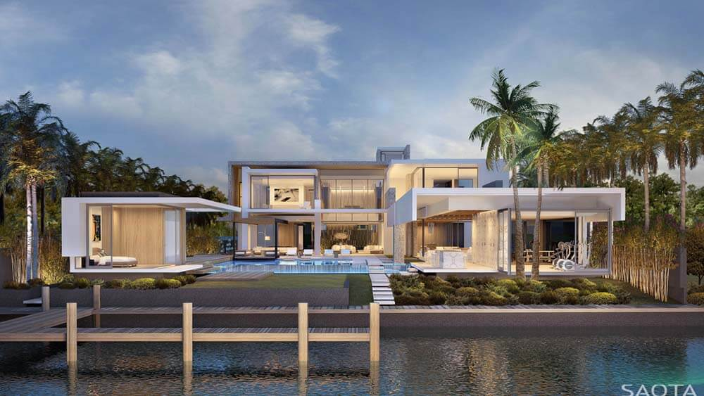 Fachada de casa luxuosa para natação